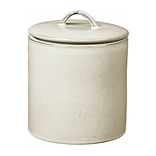 bote de cocina de barro de color blanco con tapa