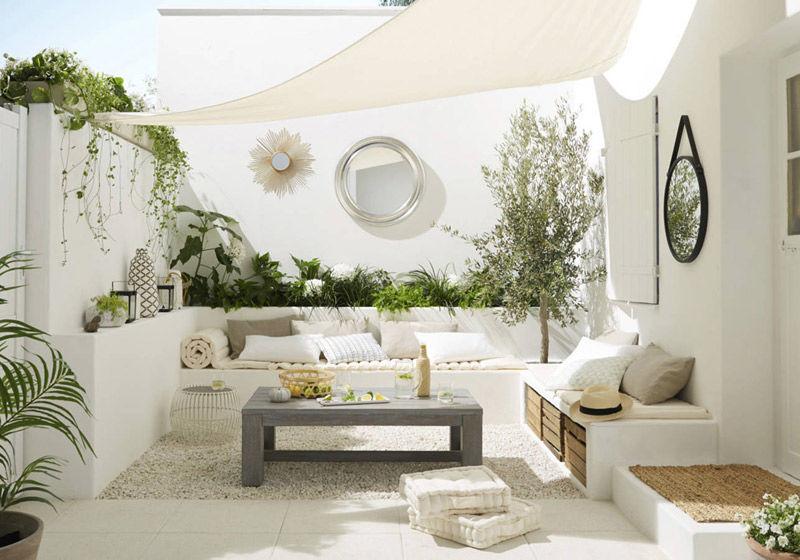 Decoración de terrazas en color blanco