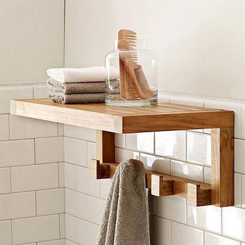 toallero de pared de madera