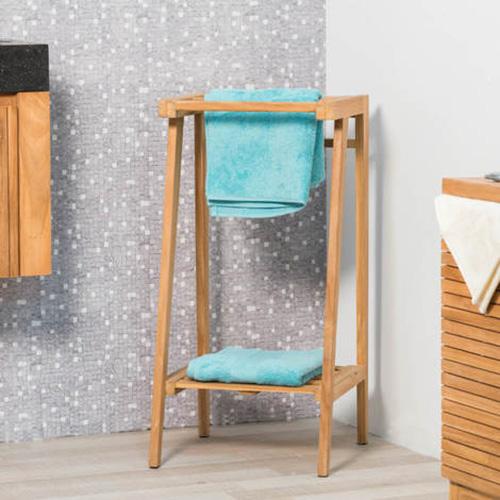toallero de baño de madera con una balda y dos brazos