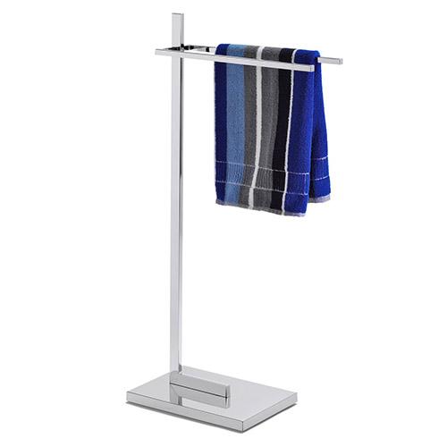 toallero de cromo con dos brazos para colgar las toallas