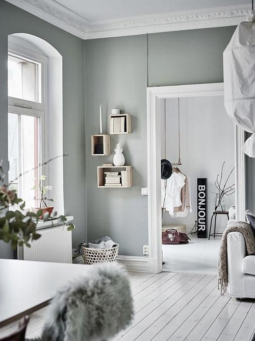 decoración de interiores con tonos verdes