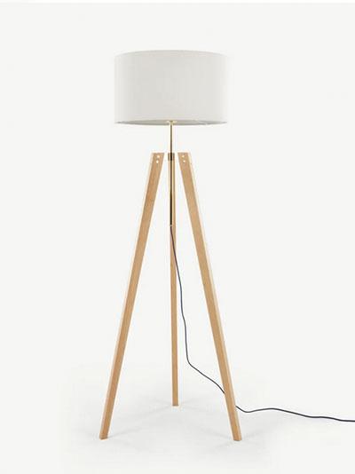 lampara de pie de madera rustica