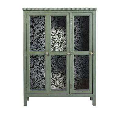 vitrina verde de madera y puertas de cristal