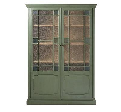 mueble vitrina verde con puertas de cristal